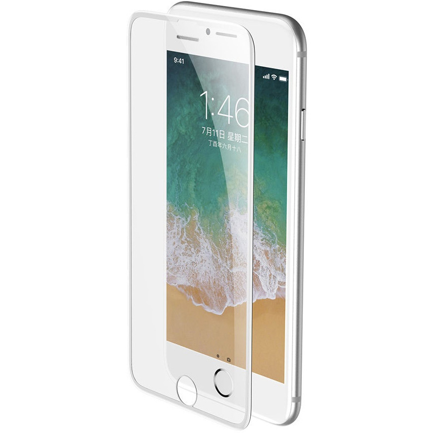 Защитное стекло для iPhone 6 Plus/6S Plus/7 Plus/8 Plus Baseus Full-screen Cellular Dust Prevention - Белое (SGAPIPH8P-WA02)