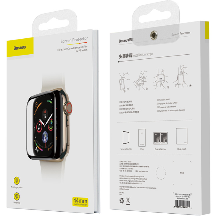 Защитное стекло для Apple Watch 4 44мм Baseus Full-screen Curved (SGAPWA4-B01)